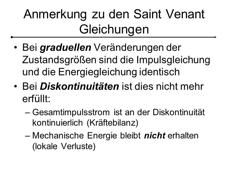 Anmerkung zu den Saint Venant Gleichungen
