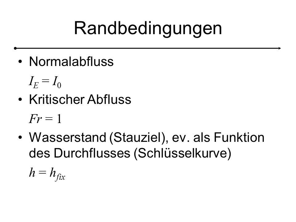 Randbedingungen Normalabfluss IE = I0 Kritischer Abfluss Fr = 1