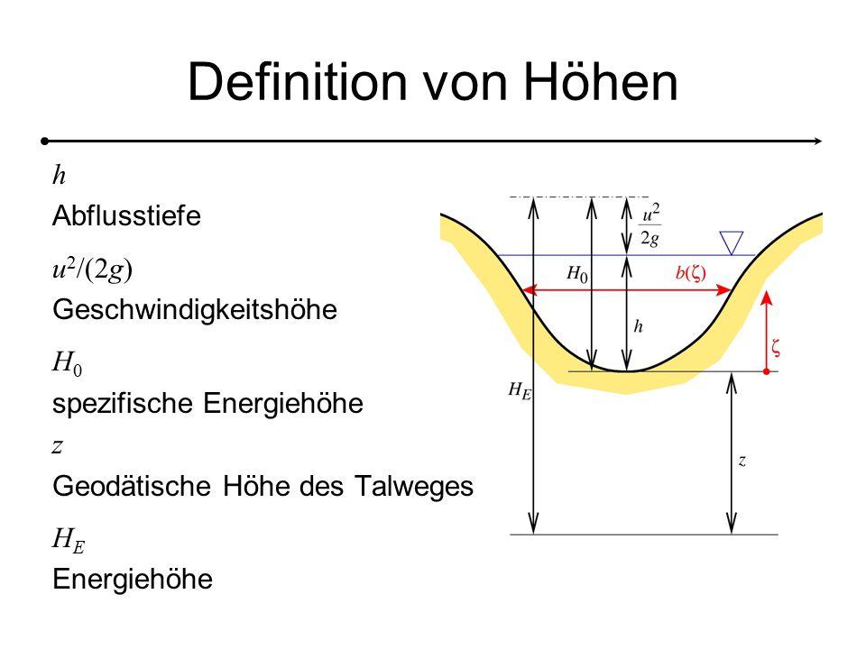 Definition von Höhen h Abflusstiefe u2/(2g) Geschwindigkeitshöhe H0