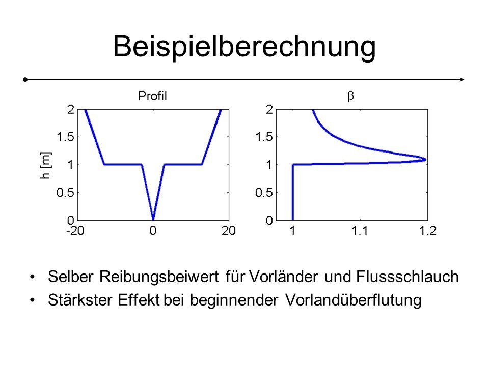 Beispielberechnung Selber Reibungsbeiwert für Vorländer und Flussschlauch.