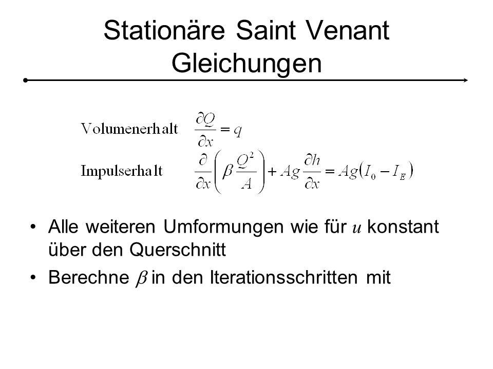 Stationäre Saint Venant Gleichungen