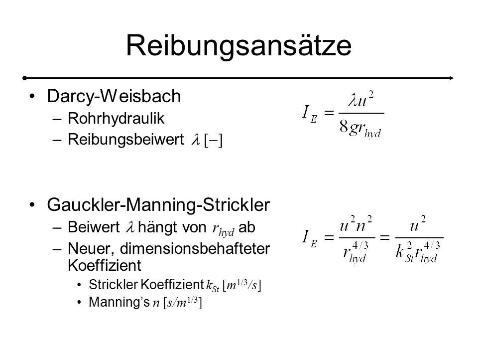 Reibungsansätze Darcy-Weisbach Gauckler-Manning-Strickler