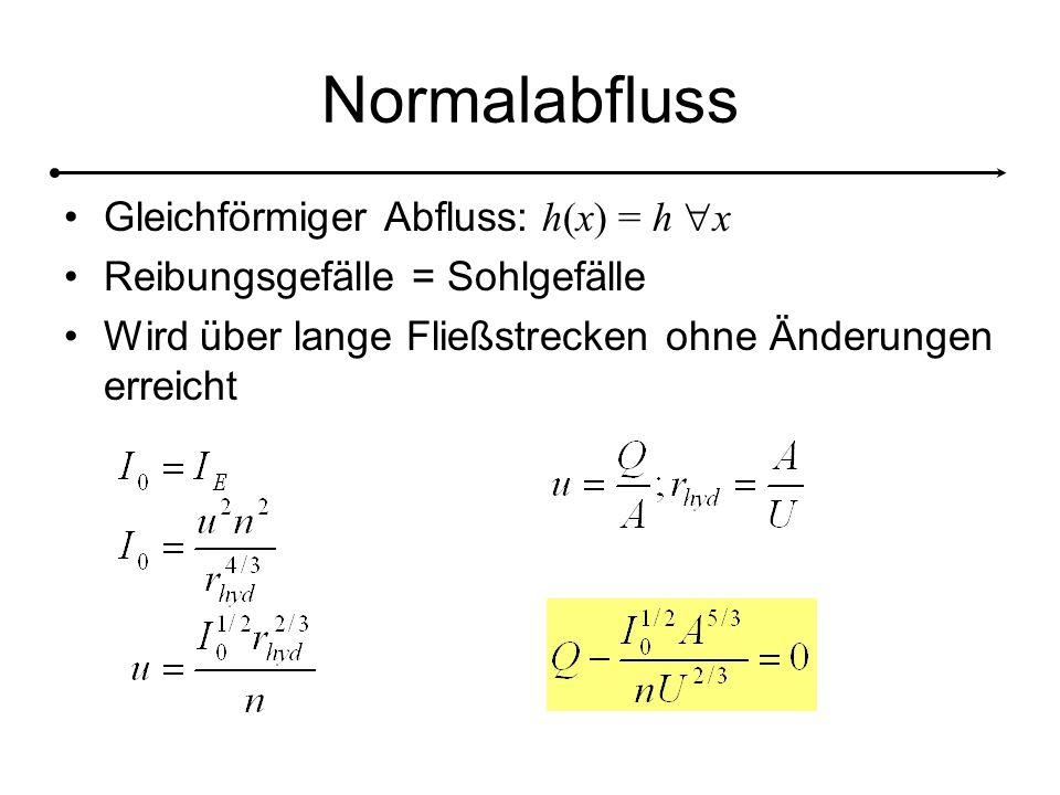 Normalabfluss Gleichförmiger Abfluss: h(x) = h x