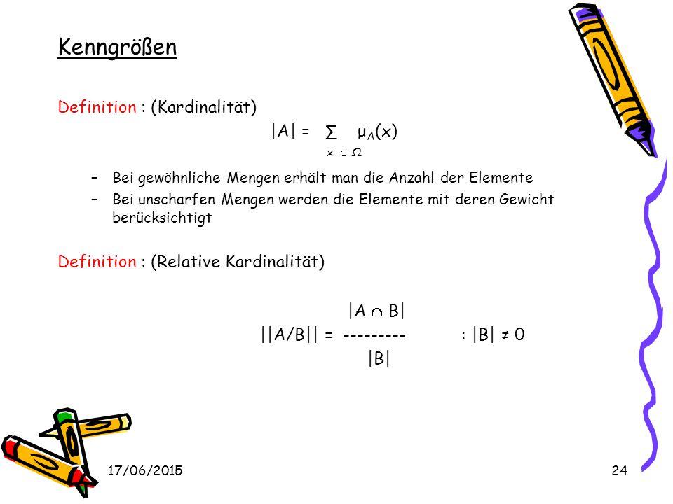 Kenngrößen Definition : (Kardinalität) |A| = ∑ μA(x) x  Ω