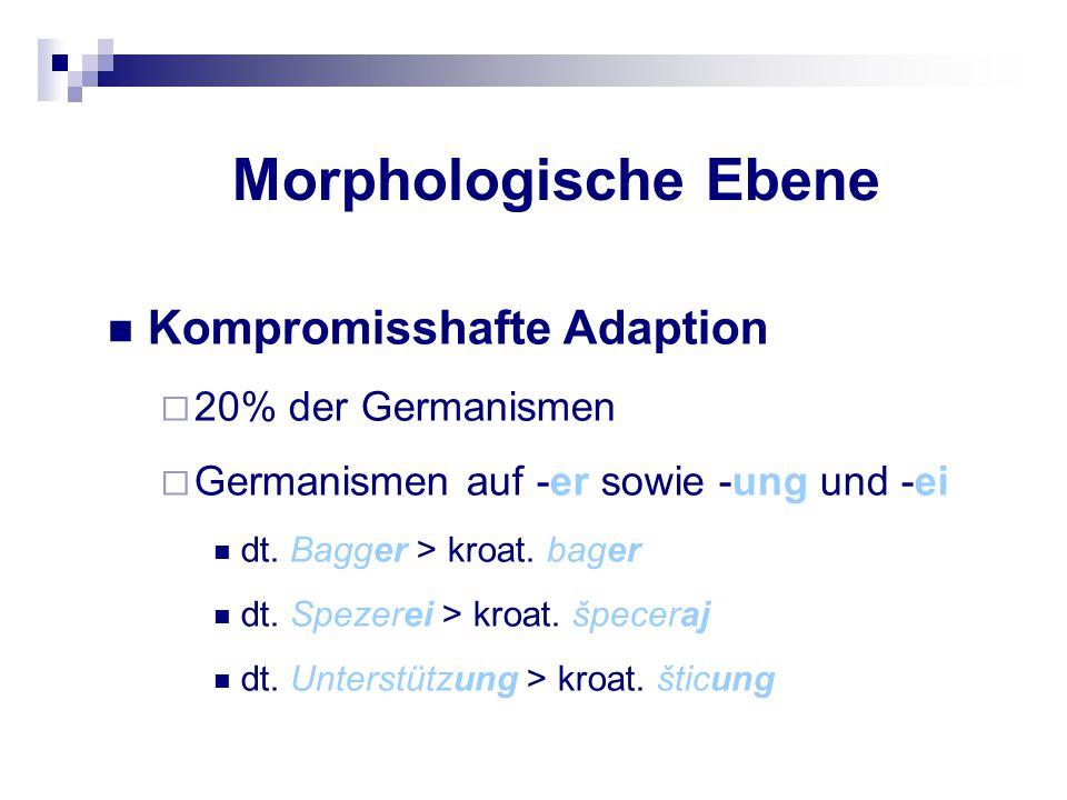 Morphologische Ebene Kompromisshafte Adaption 20% der Germanismen