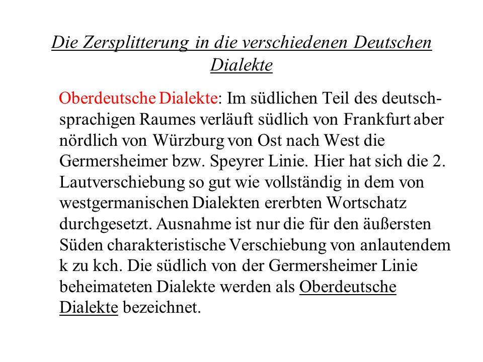 Die Zersplitterung in die verschiedenen Deutschen Dialekte