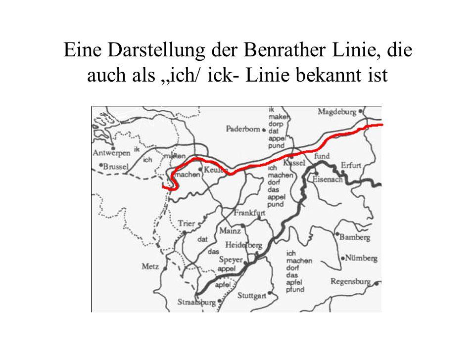 """Eine Darstellung der Benrather Linie, die auch als """"ich/ ick- Linie bekannt ist"""