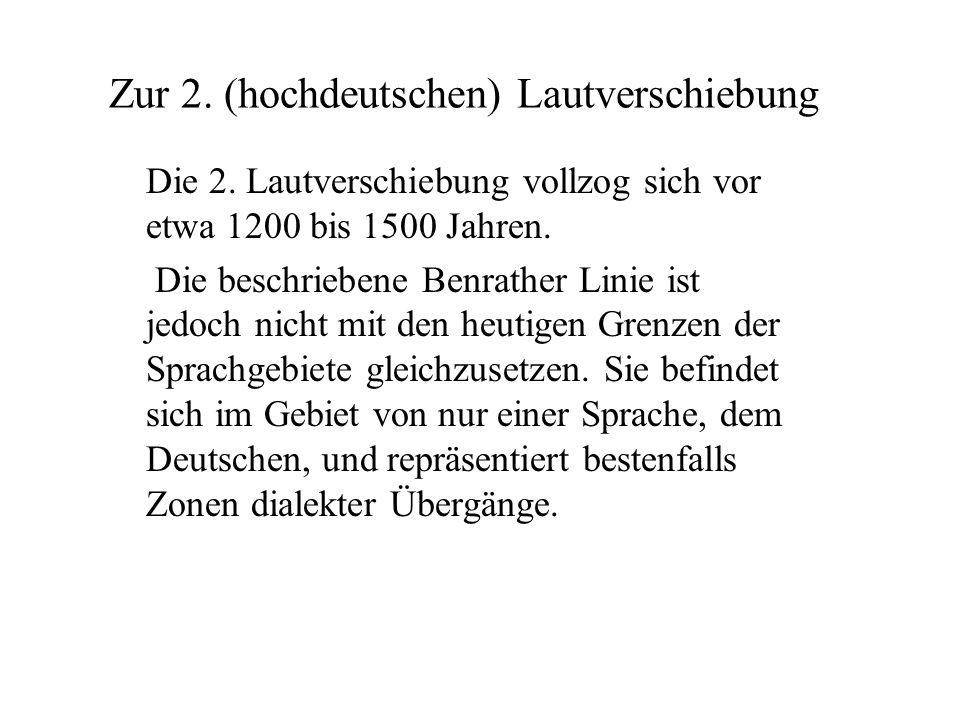 Zur 2. (hochdeutschen) Lautverschiebung