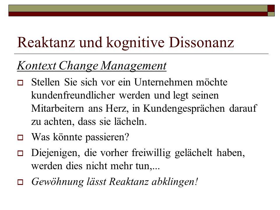 Reaktanz und kognitive Dissonanz