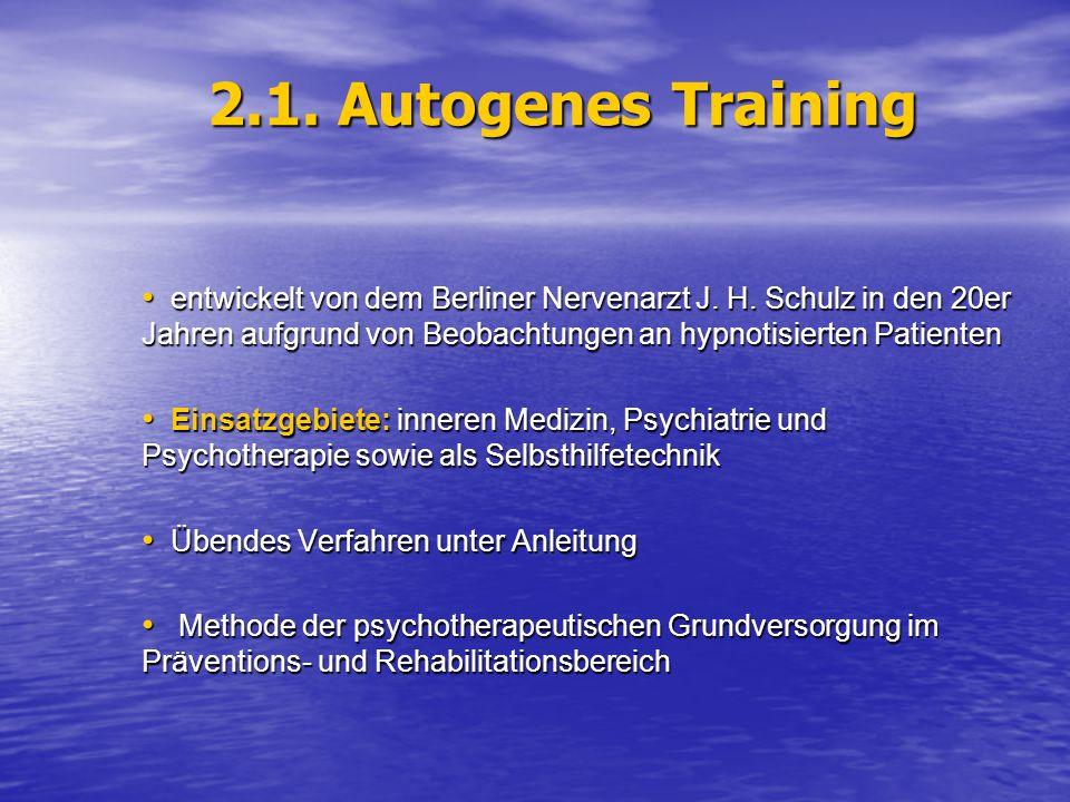 2.1. Autogenes Training entwickelt von dem Berliner Nervenarzt J. H. Schulz in den 20er Jahren aufgrund von Beobachtungen an hypnotisierten Patienten.