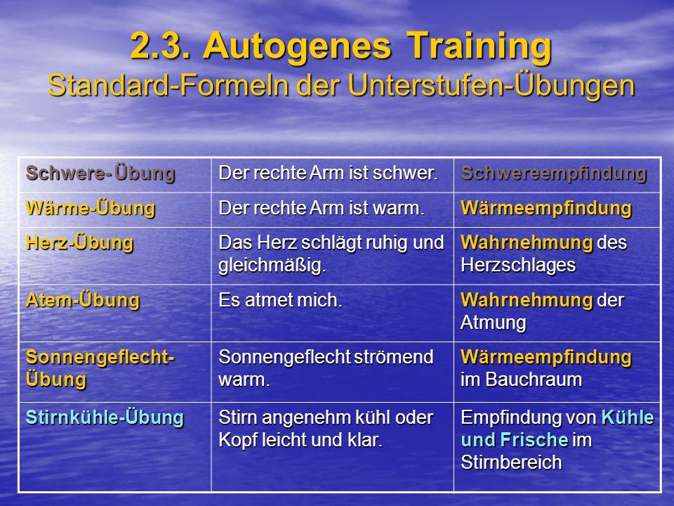 2.3. Autogenes Training Standard-Formeln der Unterstufen-Übungen