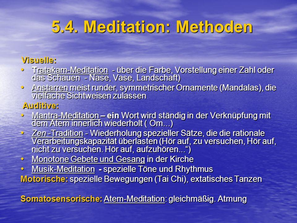 5.4. Meditation: Methoden Visuelle: Tratakam-Meditation - über die Farbe, Vorstellung einer Zahl oder das Schauen - Nase, Vase, Landschaft)
