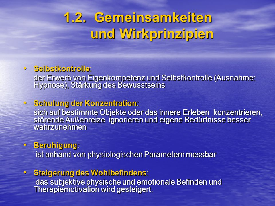 1.2. Gemeinsamkeiten und Wirkprinzipien