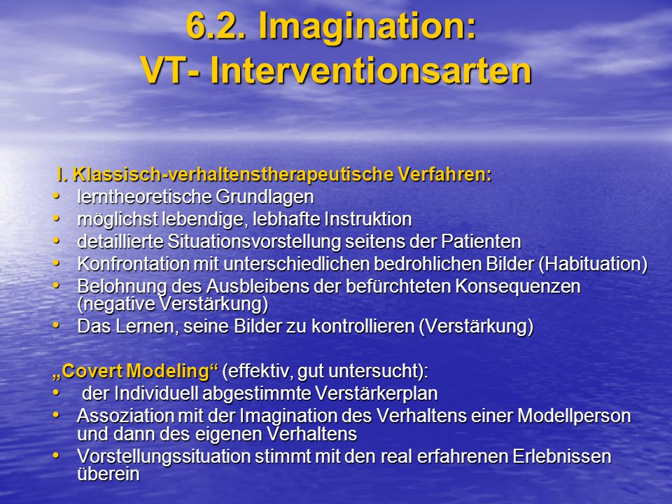 6.2. Imagination: VT- Interventionsarten