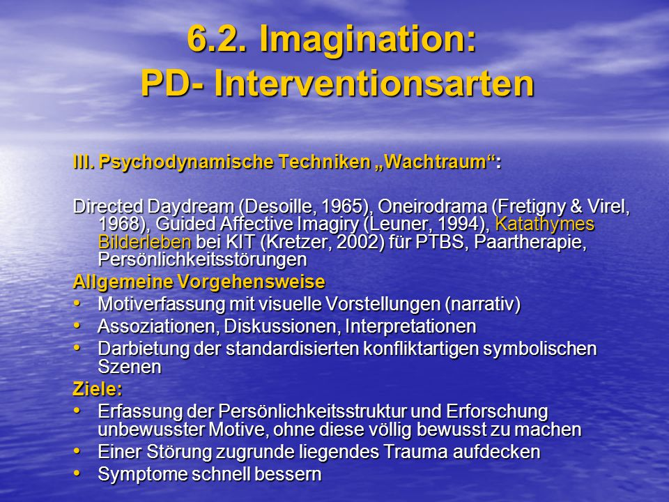 6.2. Imagination: PD- Interventionsarten