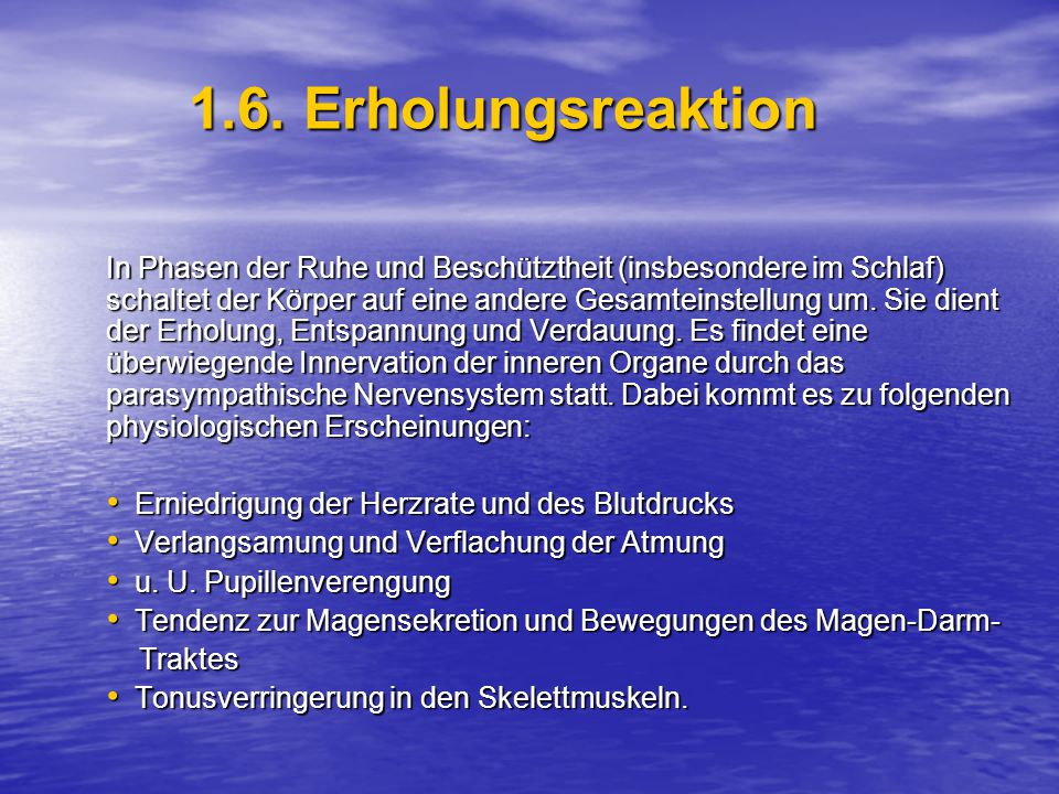 1.6. Erholungsreaktion