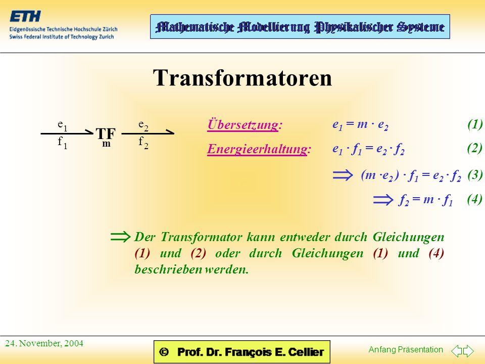 Transformatoren   TF Übersetzung: e1 = m · e2 (1) Energieerhaltung: