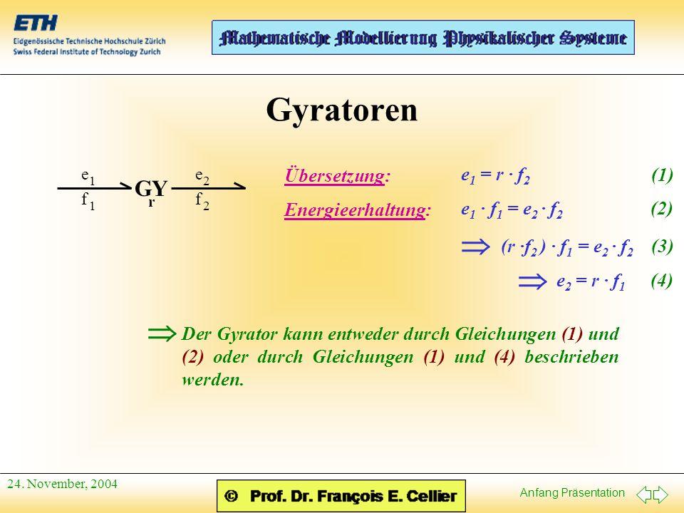 Gyratoren   GY Übersetzung: e1 = r · f2 (1) Energieerhaltung:
