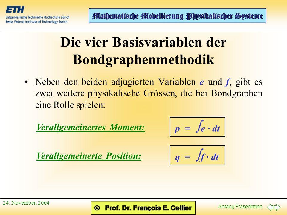 Die vier Basisvariablen der Bondgraphenmethodik