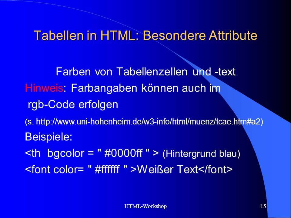 Tabellen in HTML: Besondere Attribute