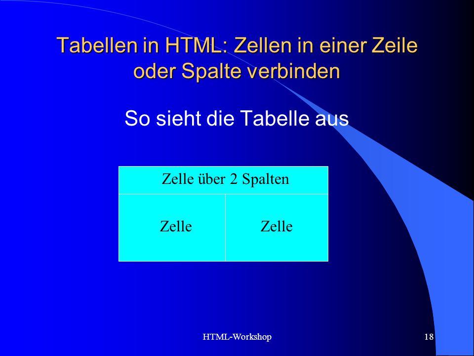 Tabellen in HTML: Zellen in einer Zeile oder Spalte verbinden