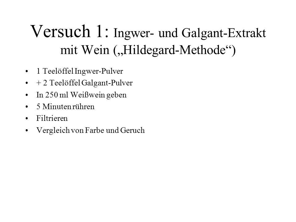 """Versuch 1: Ingwer- und Galgant-Extrakt mit Wein (""""Hildegard-Methode )"""