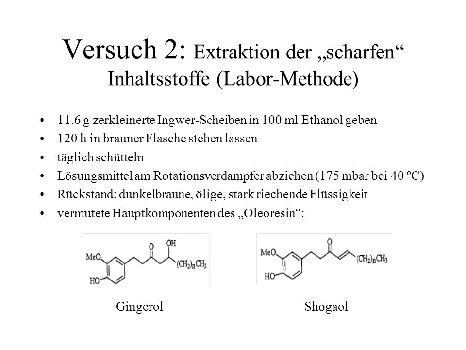 """Versuch 2: Extraktion der """"scharfen Inhaltsstoffe (Labor-Methode)"""