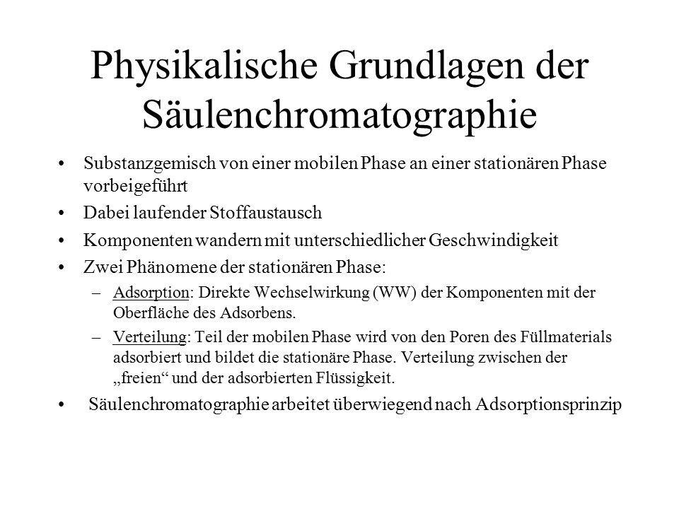 Physikalische Grundlagen der Säulenchromatographie
