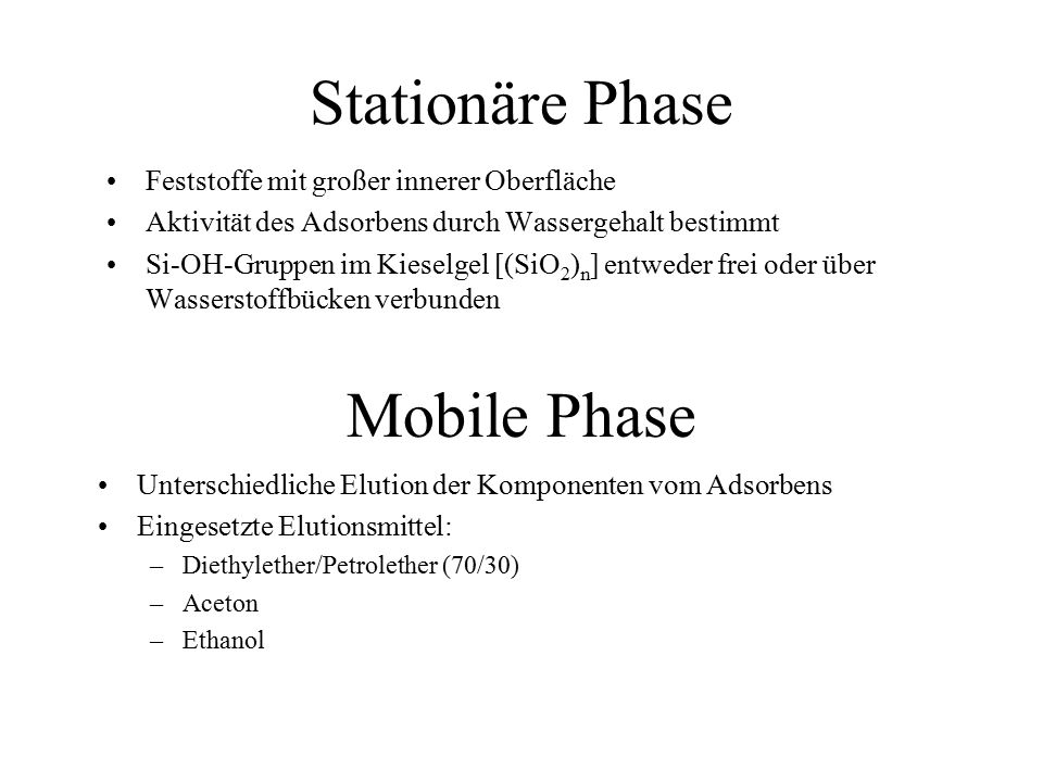 Stationäre Phase Mobile Phase Feststoffe mit großer innerer Oberfläche