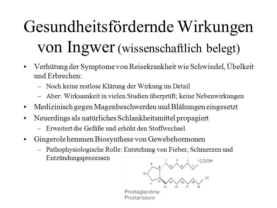 Gesundheitsfördernde Wirkungen von Ingwer (wissenschaftlich belegt)