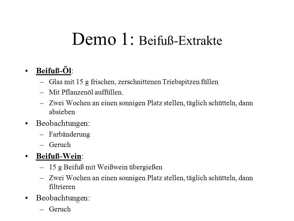 Demo 1: Beifuß-Extrakte