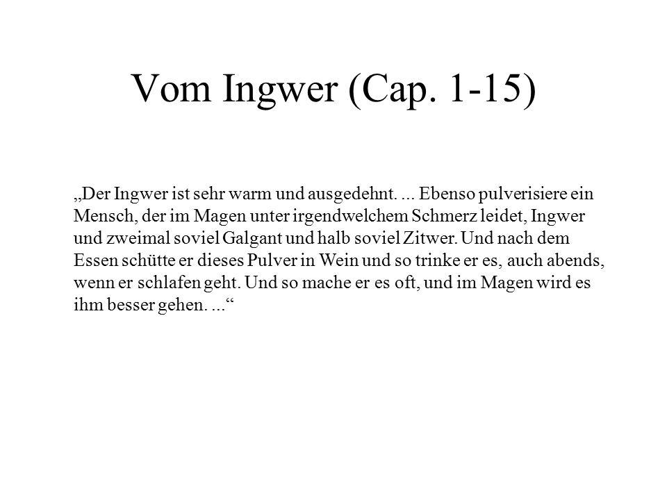 Vom Ingwer (Cap. 1-15)