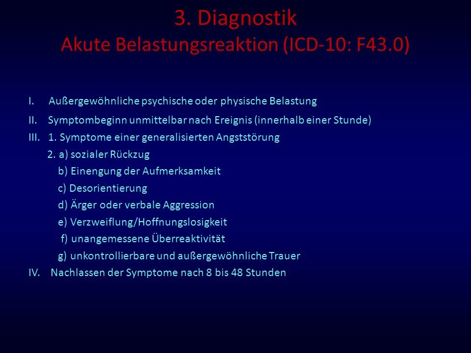 3. Diagnostik Akute Belastungsreaktion (ICD-10: F43.0)