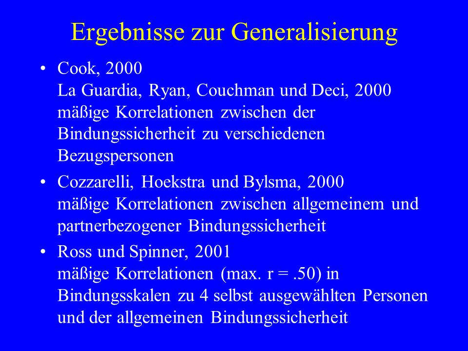 Ergebnisse zur Generalisierung
