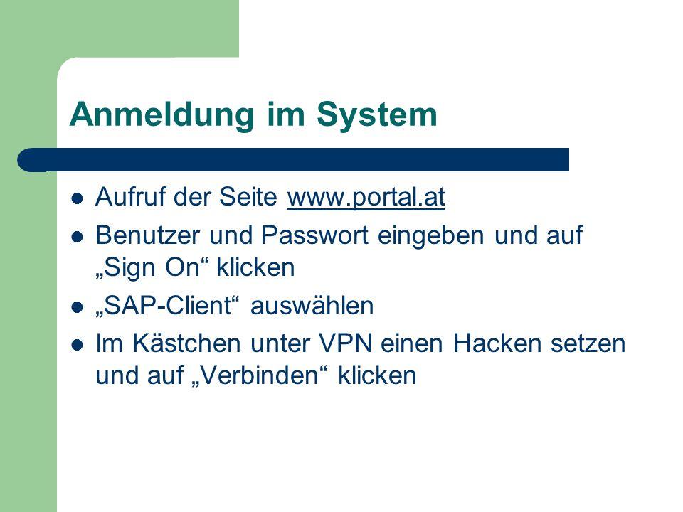 Anmeldung im System Aufruf der Seite www.portal.at