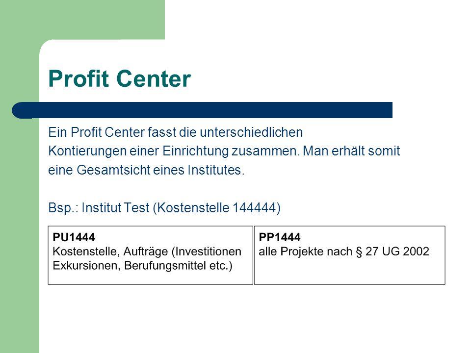 Profit Center Ein Profit Center fasst die unterschiedlichen