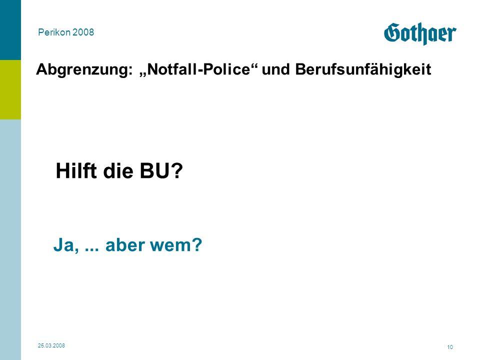 """Abgrenzung: """"Notfall-Police und Berufsunfähigkeit"""