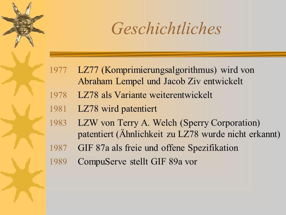 Geschichtliches LZ77 (Komprimierungsalgorithmus) wird von Abraham Lempel und Jacob Ziv entwickelt.