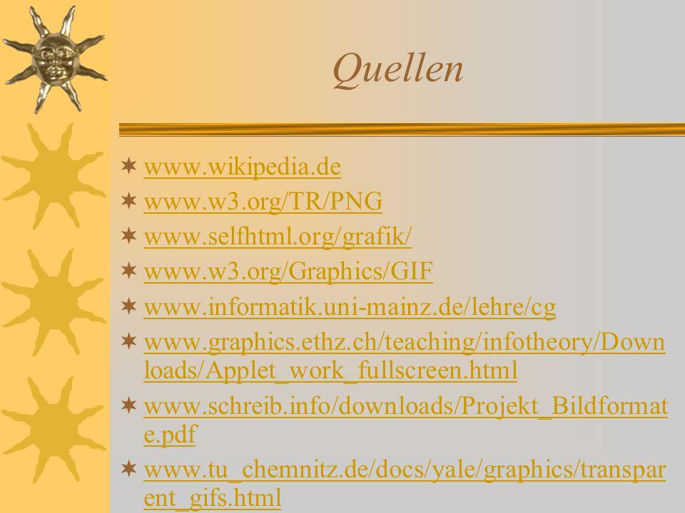 Quellen www.wikipedia.de www.w3.org/TR/PNG www.selfhtml.org/grafik/