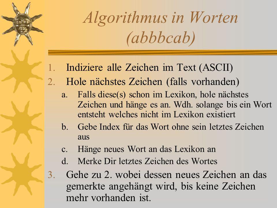 Algorithmus in Worten (abbbcab)