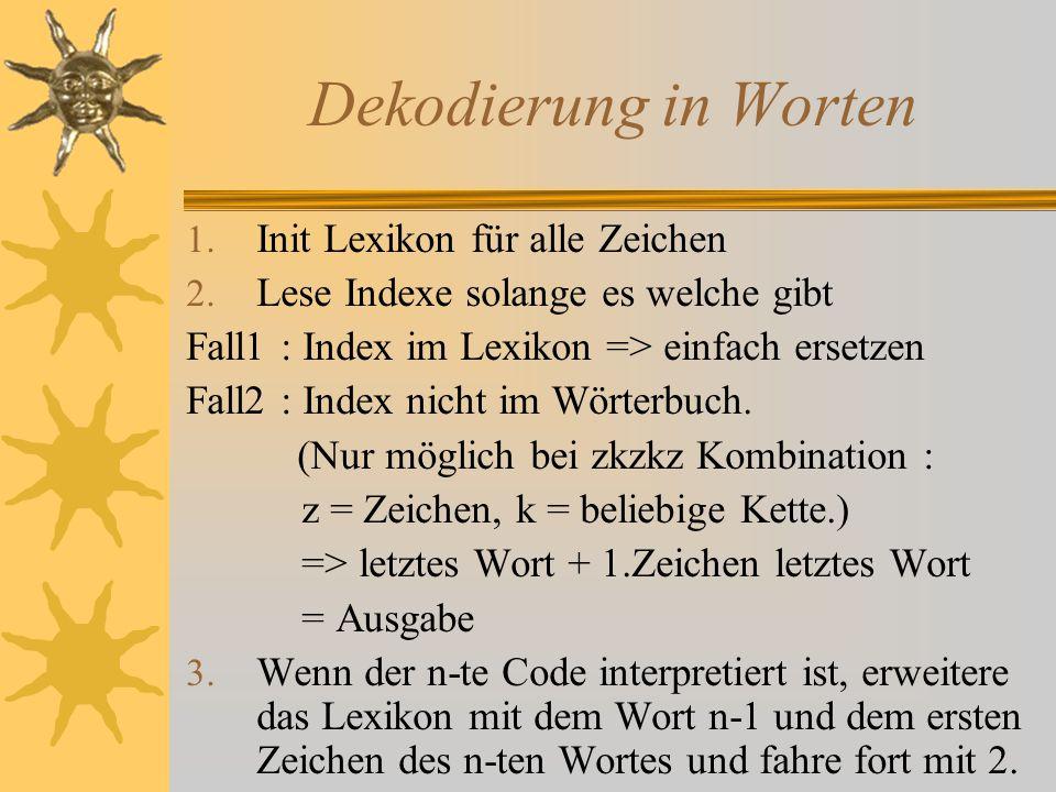Dekodierung in Worten Init Lexikon für alle Zeichen