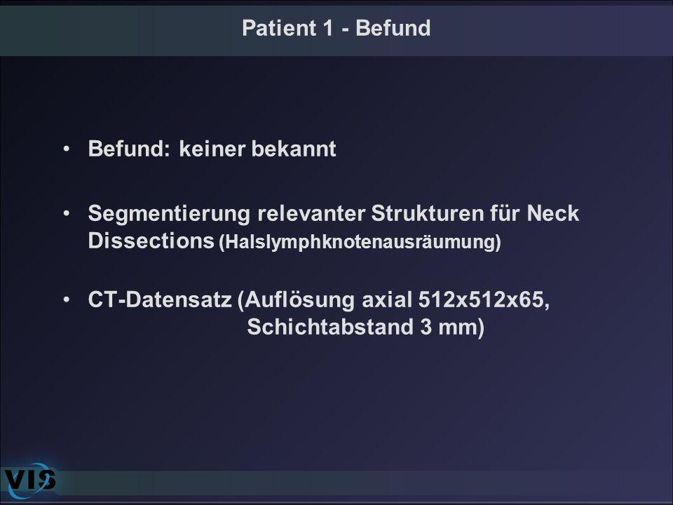 Patient 1 - Befund Befund: keiner bekannt. Segmentierung relevanter Strukturen für Neck Dissections (Halslymphknotenausräumung)
