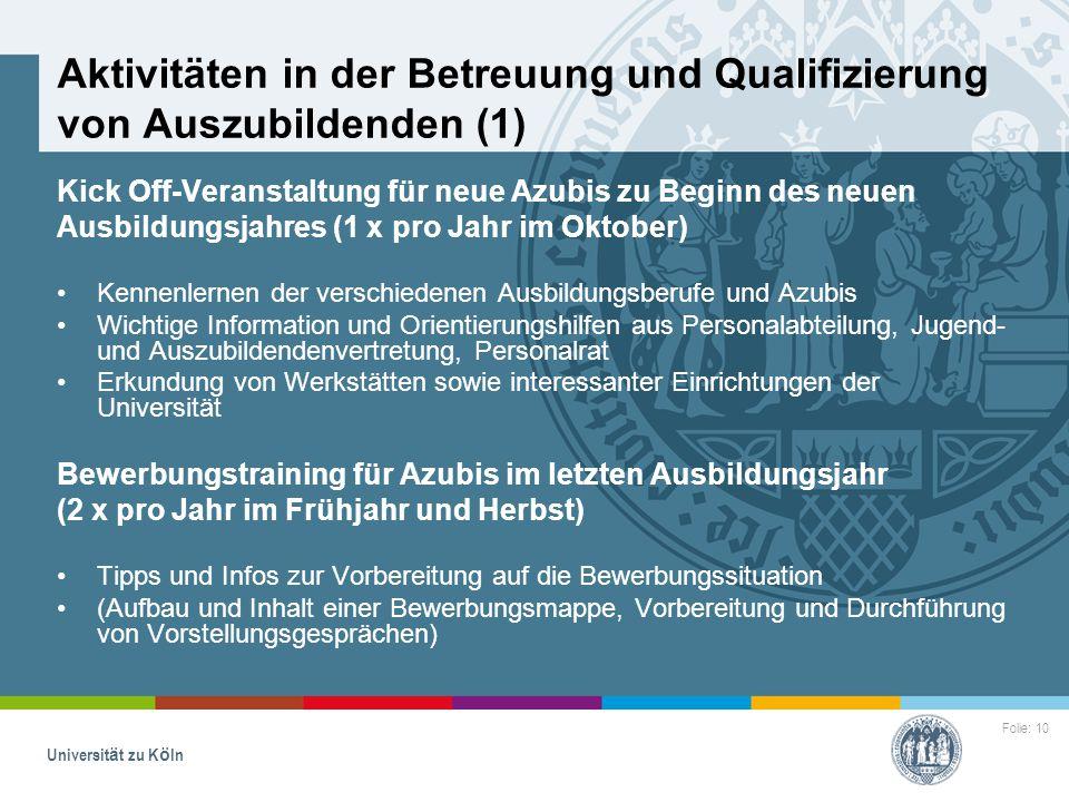 Aktivitäten in der Betreuung und Qualifizierung von Auszubildenden (1)