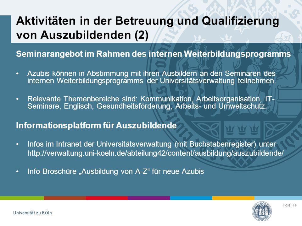 Aktivitäten in der Betreuung und Qualifizierung von Auszubildenden (2)