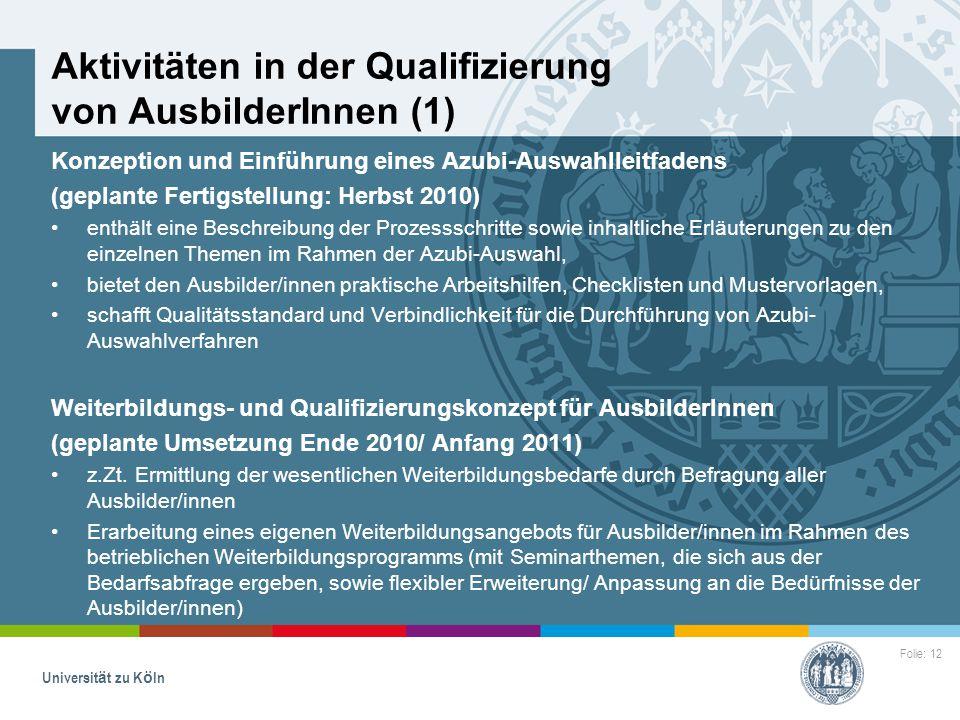 Aktivitäten in der Qualifizierung von AusbilderInnen (1)