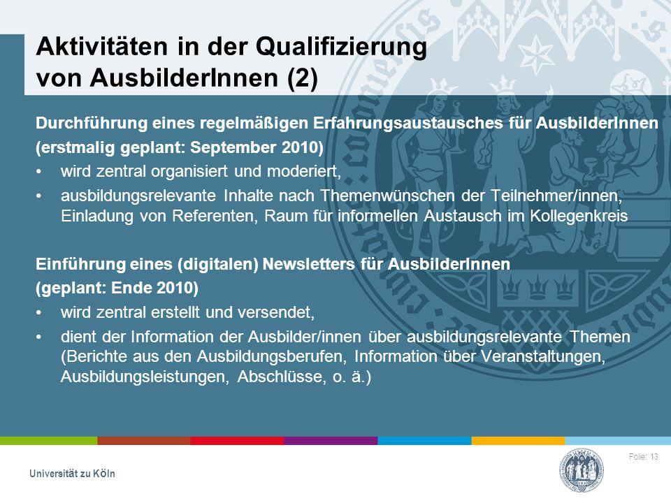 Aktivitäten in der Qualifizierung von AusbilderInnen (2)