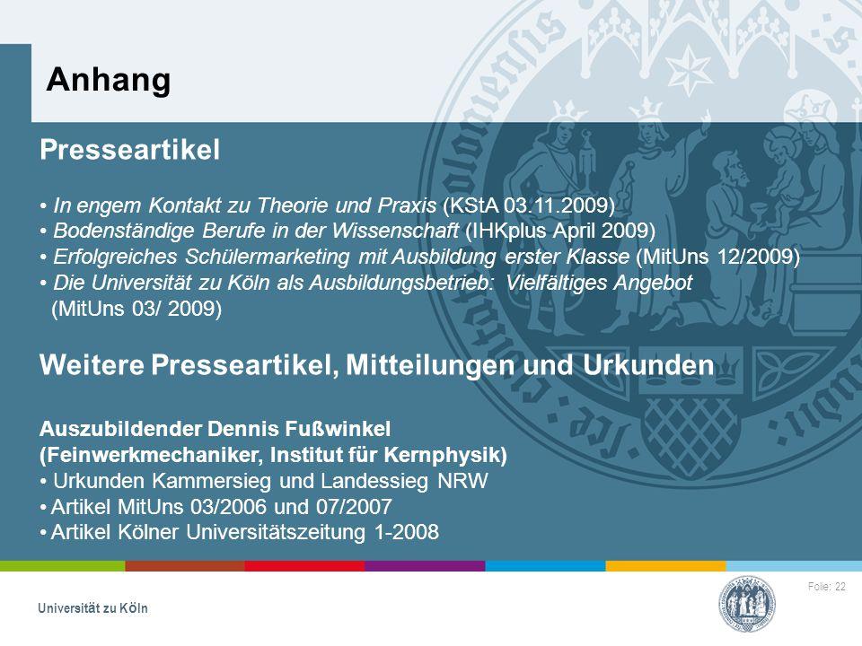 Anhang Presseartikel Weitere Presseartikel, Mitteilungen und Urkunden