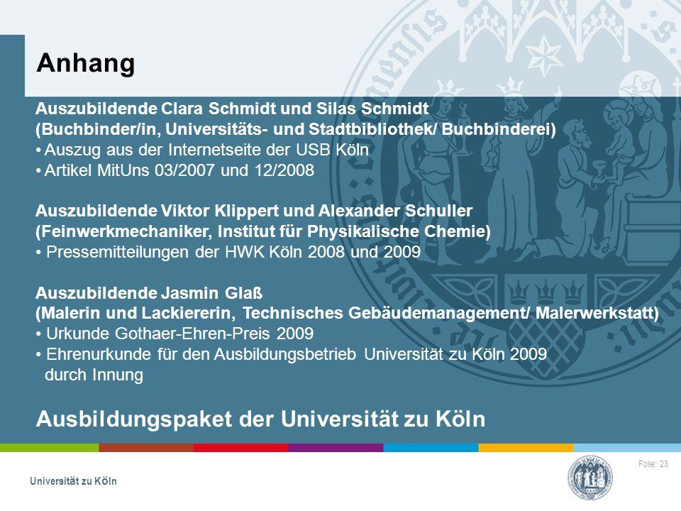 Anhang Ausbildungspaket der Universität zu Köln