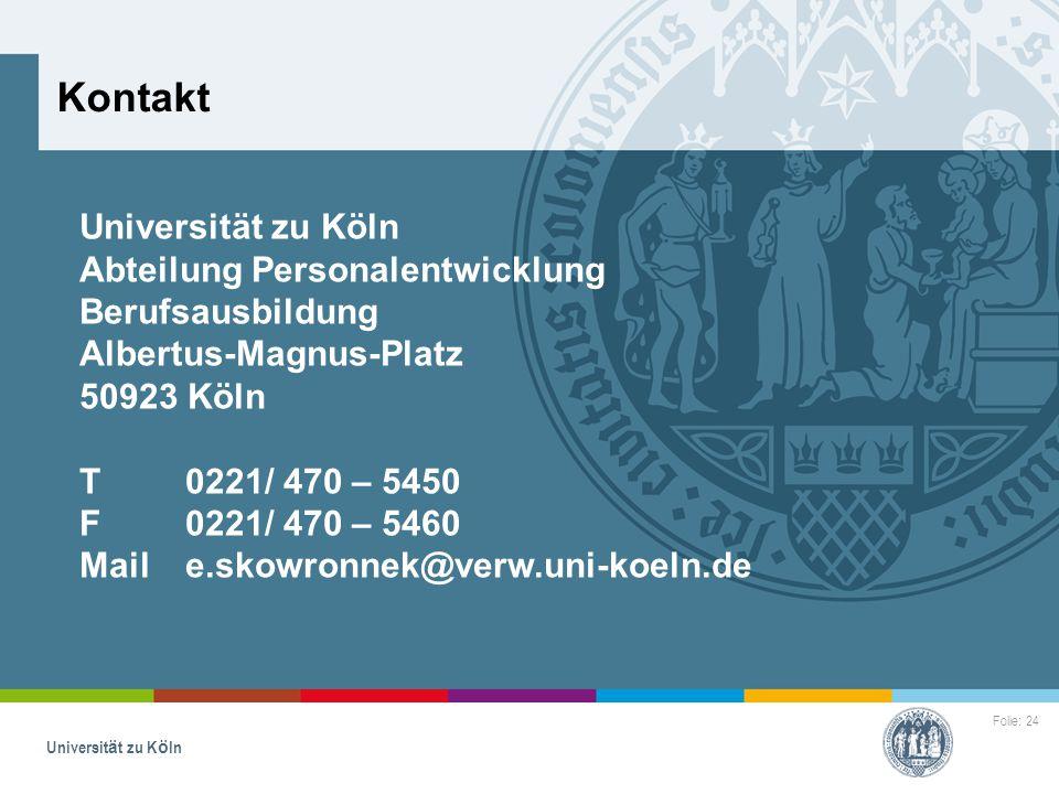 Kontakt Universität zu Köln Abteilung Personalentwicklung