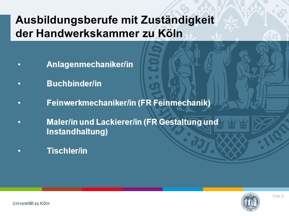 Ausbildungsberufe mit Zuständigkeit der Handwerkskammer zu Köln